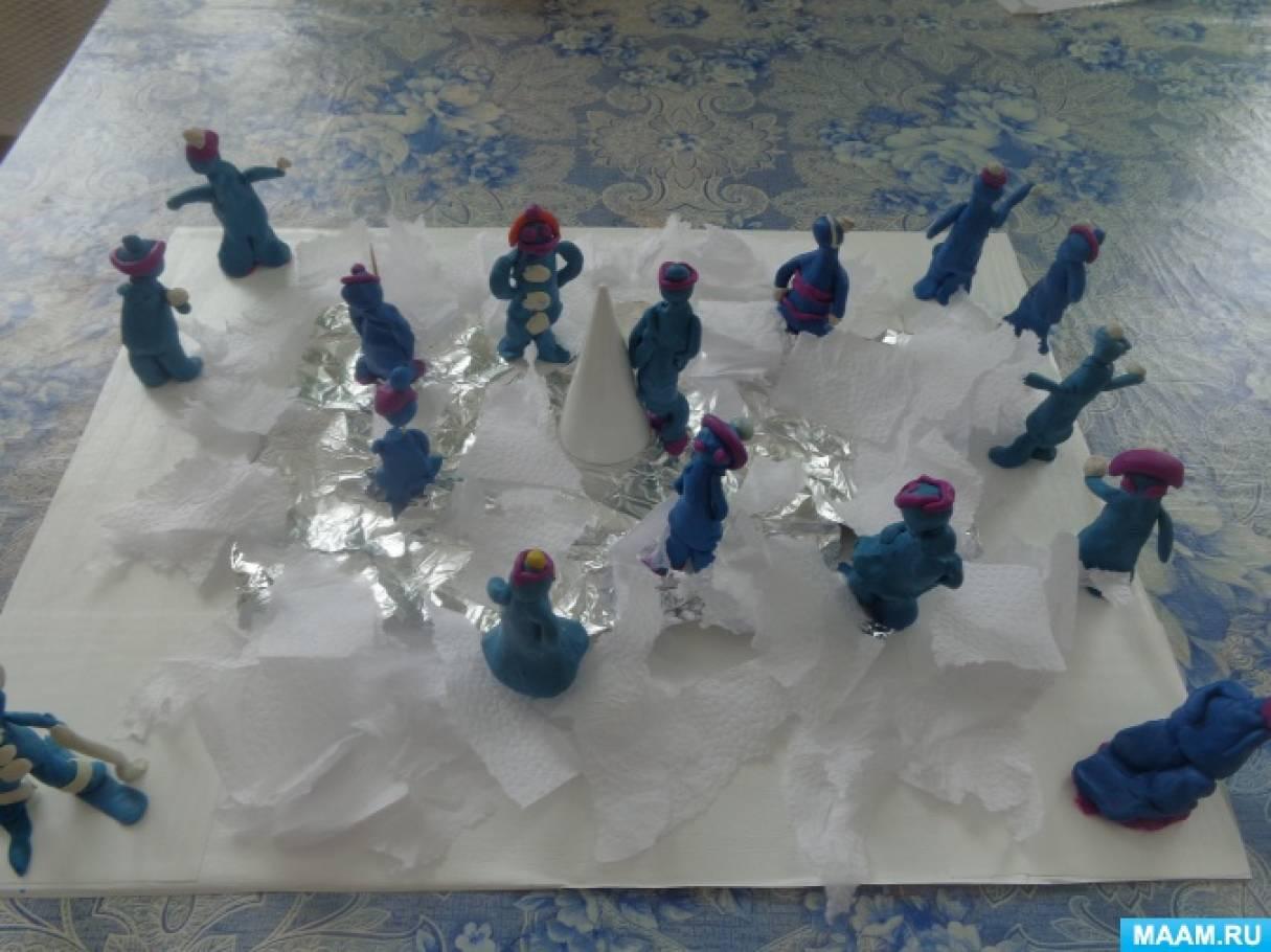 Лепка. Коллективная сюжетная композиция «Зимние забавы»