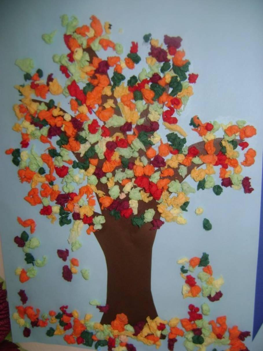 Картина из салфеток своими руками золотая осень 1