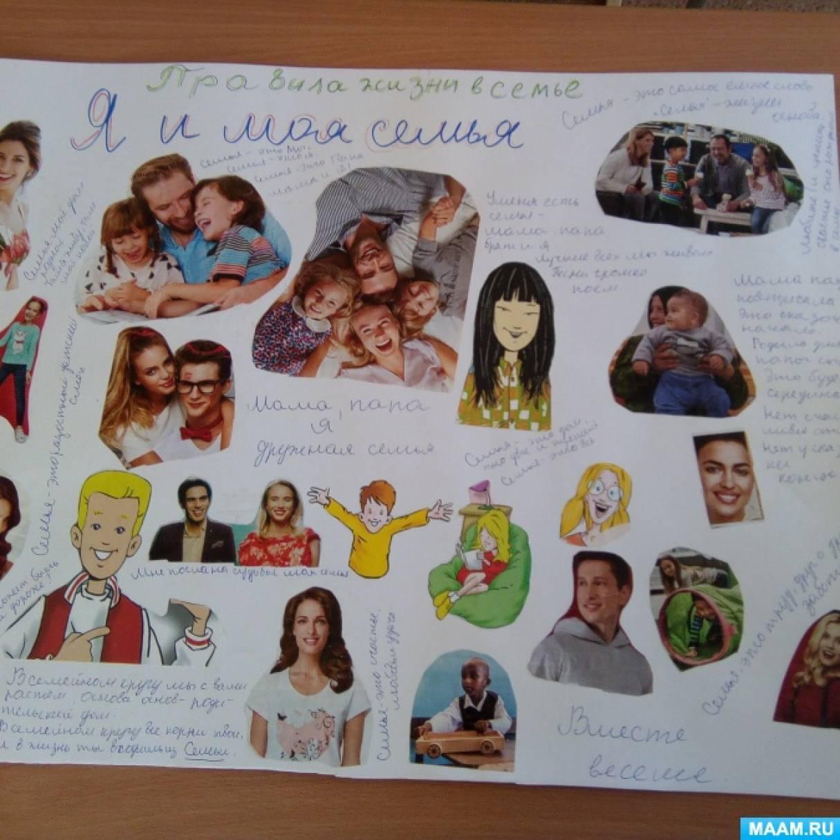 Коллективная работа по изготовлению коллажа «Я и моя семья» для детей средней группы
