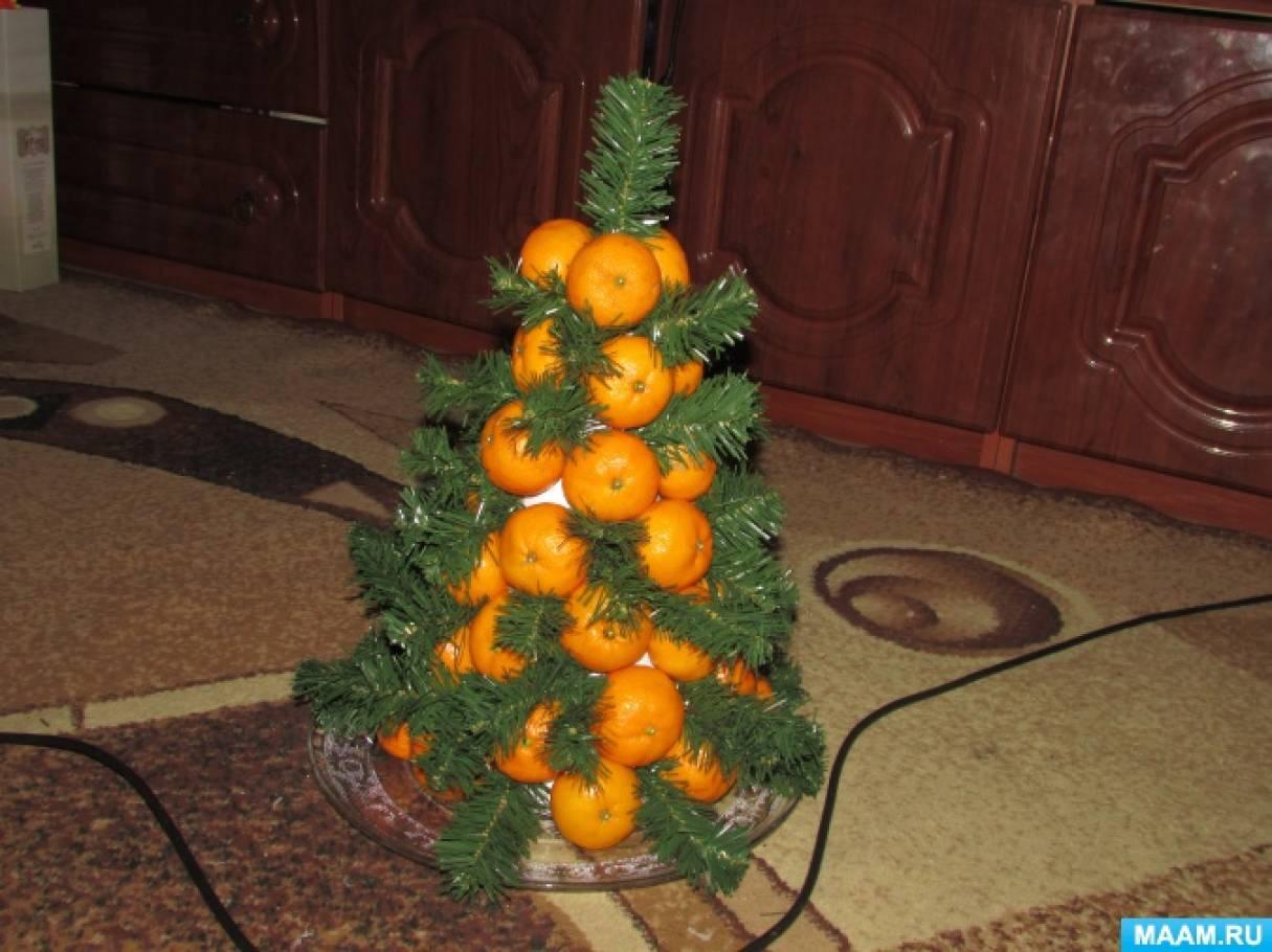 Мастер-класс «Ёлочка из мандарин и еловых веточек»