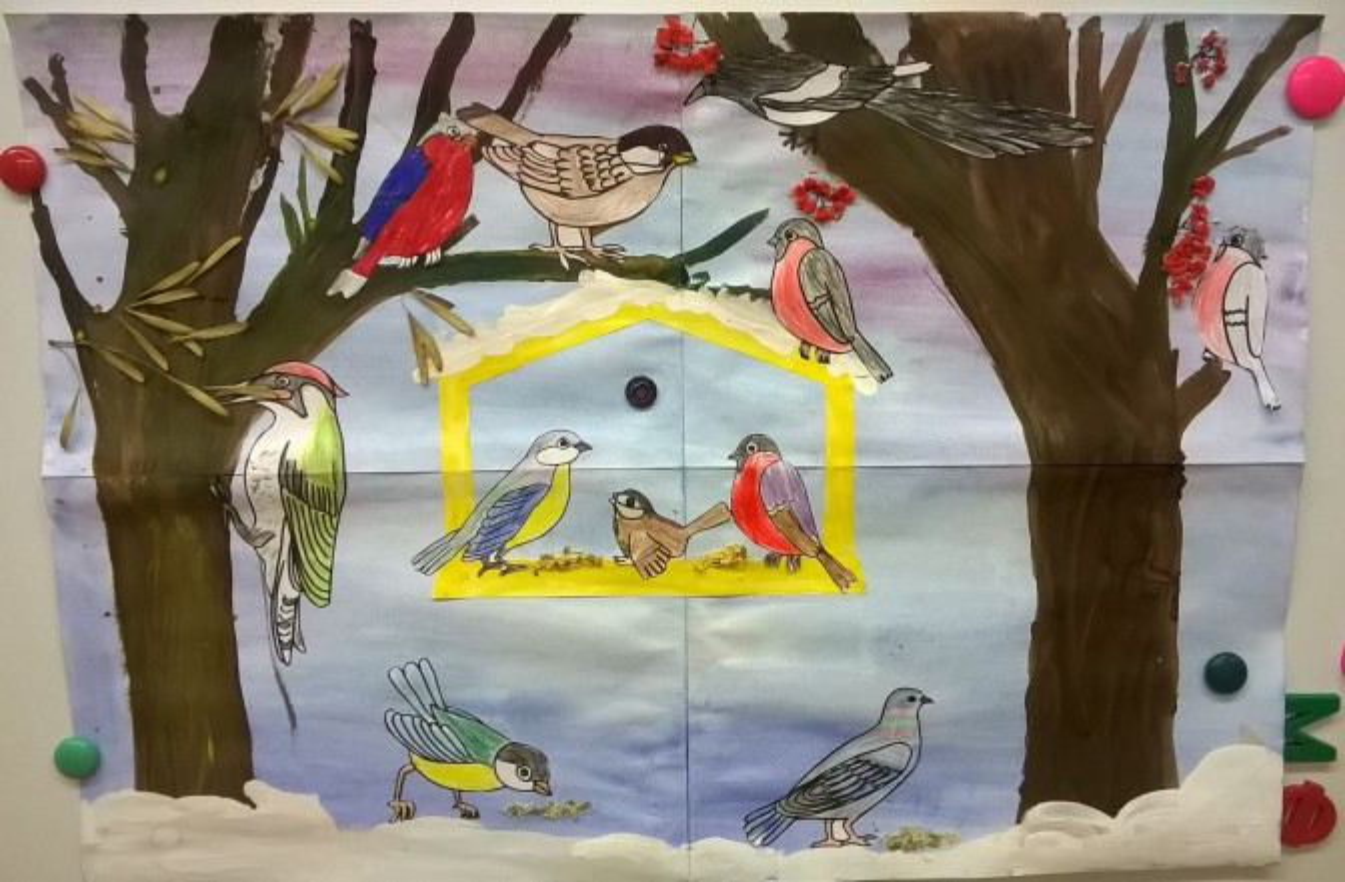 рисунки на тему зимующие птицы тату-культуре