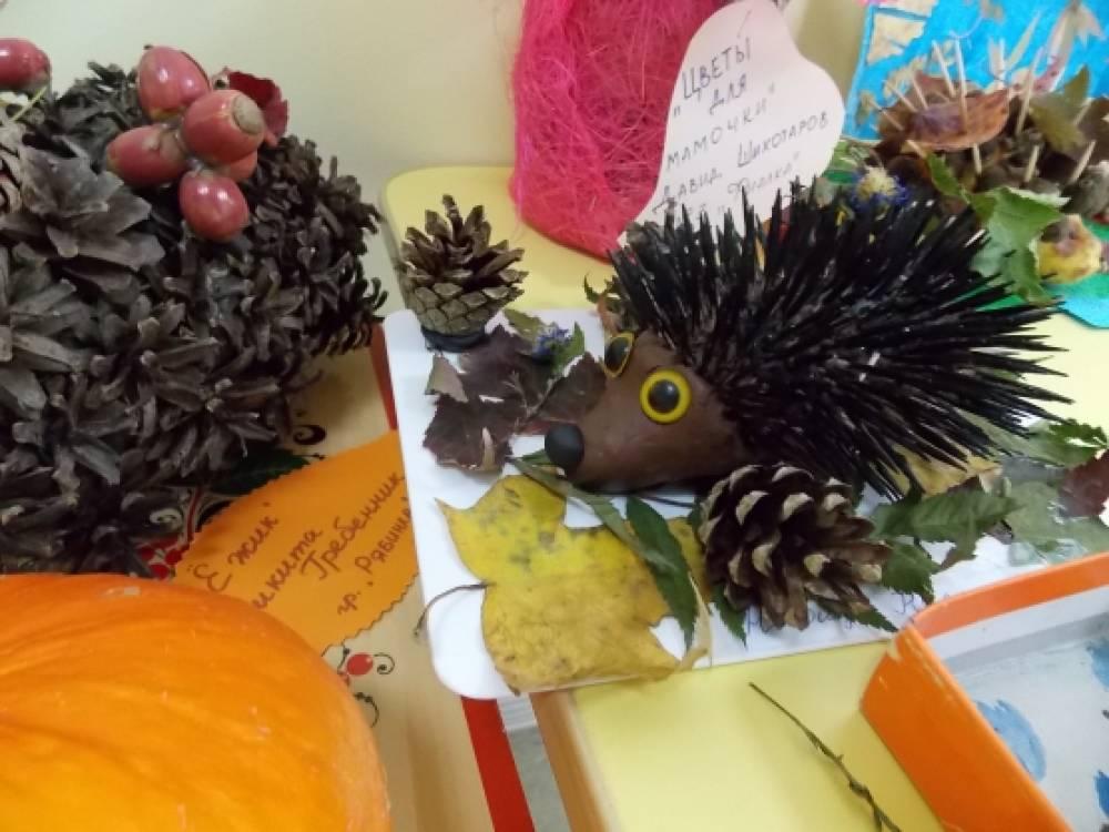 Поделки дары осени в садик ежики
