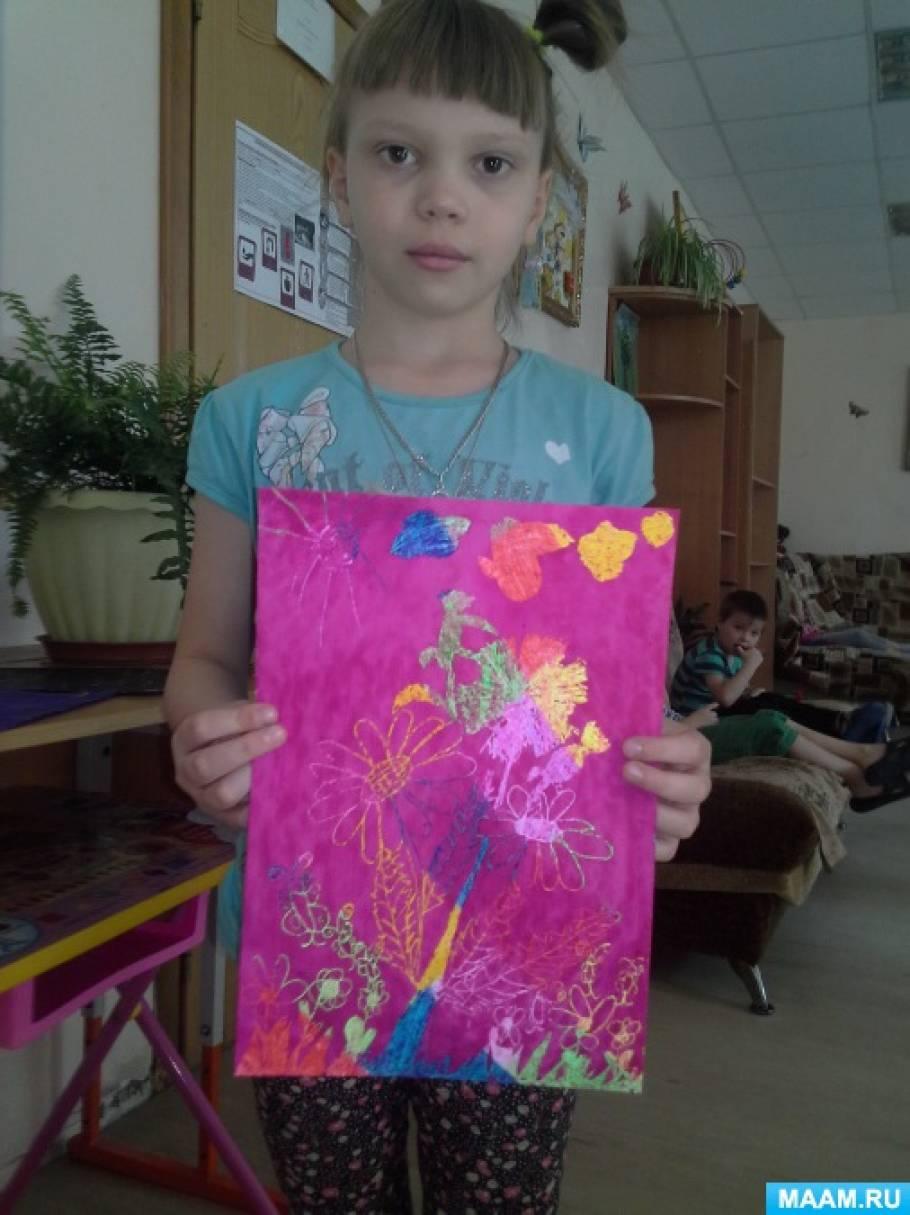 Конспект открытого занятия «Букет полевых цветов». Нетрадиционная техника рисования— граттаж