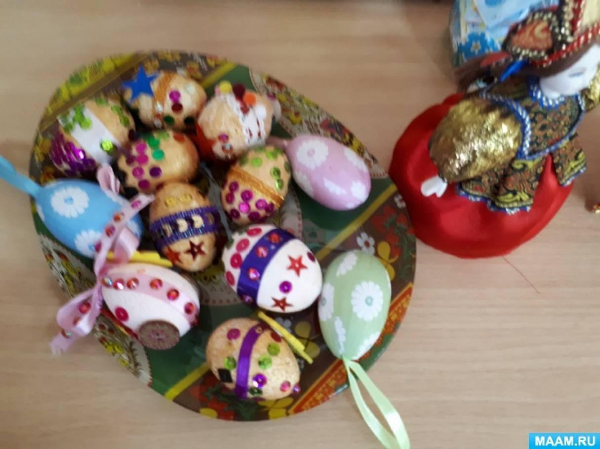 Мастер-класс по декорированию пасхального яйца из пенопласта лентой и пайетками к празднику Пасхи в подготовительной группе