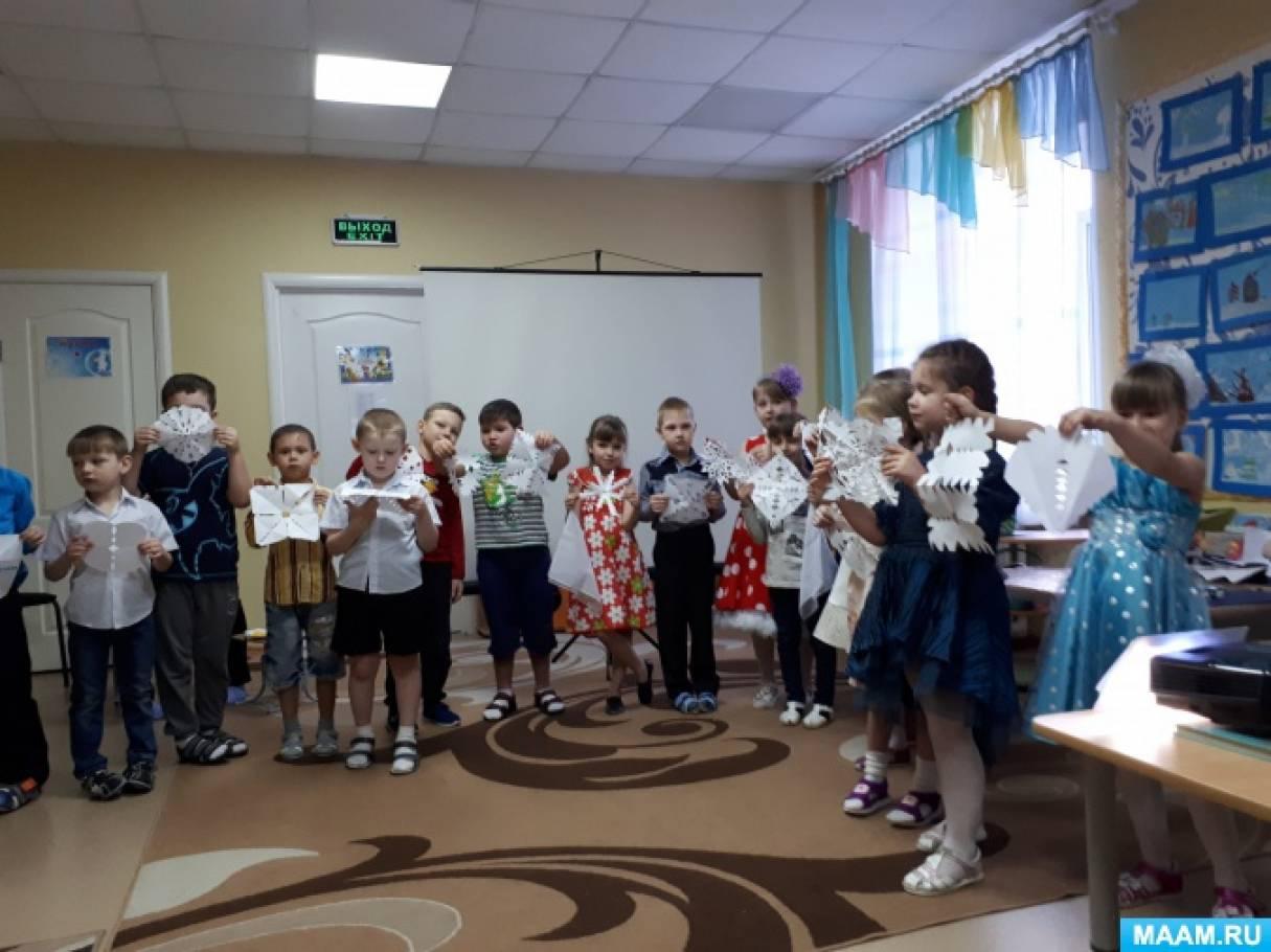 Сценарий музыкально-литературной гостиной в подготовительной группе «Снежинки спускаются с неба»