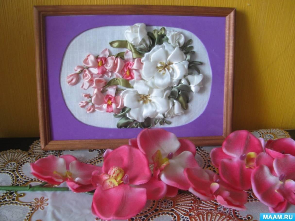 Вышивка лентами «Букет из шиповника и орхидей»