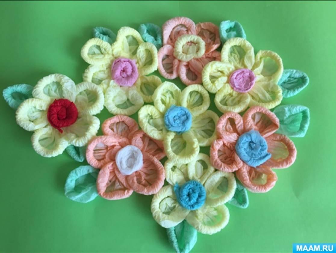 Творческая мастерская. Аппликация из бумажных салфеток «Ажурные цветы»