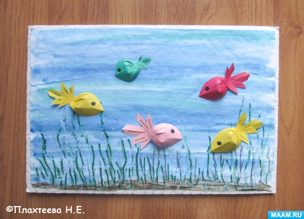 Мастер-класс изготовления картины с рыбками в технике бумагопластики