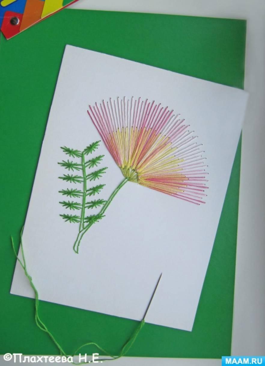Поделка открытка из ниток