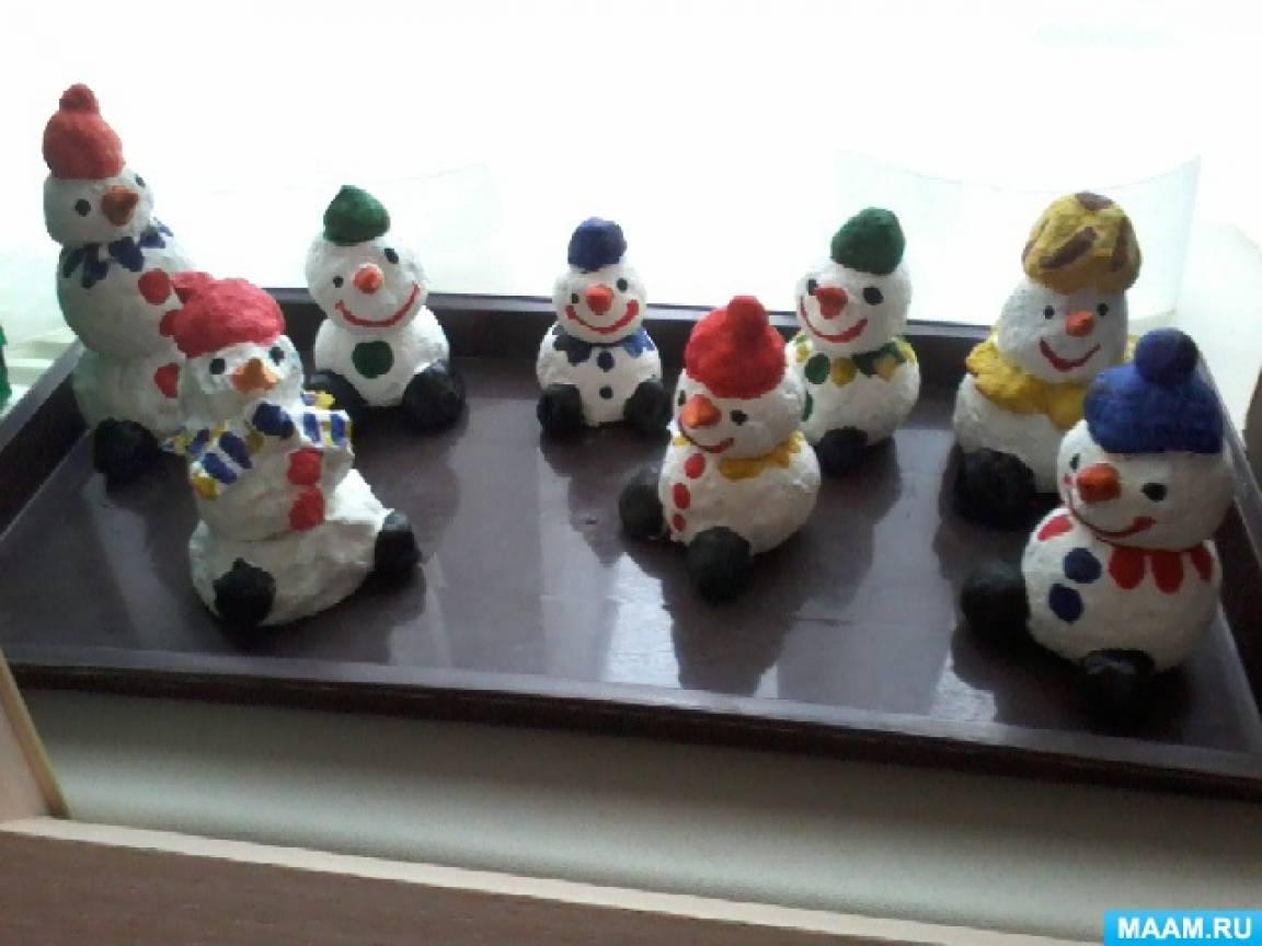 Игрушка из папье-маше «Очаровательный снеговик»