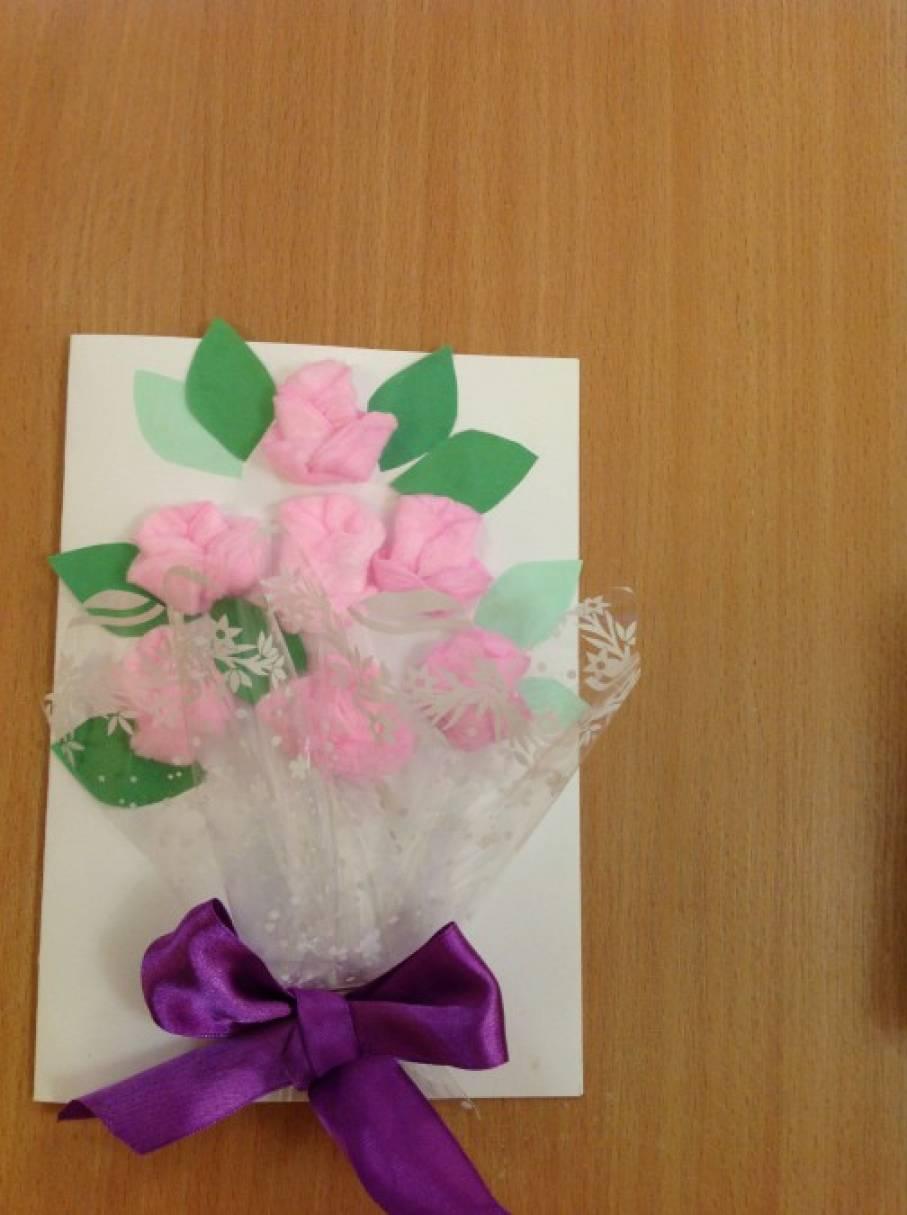 Мастер-класс «Букет роз» открытка для мам