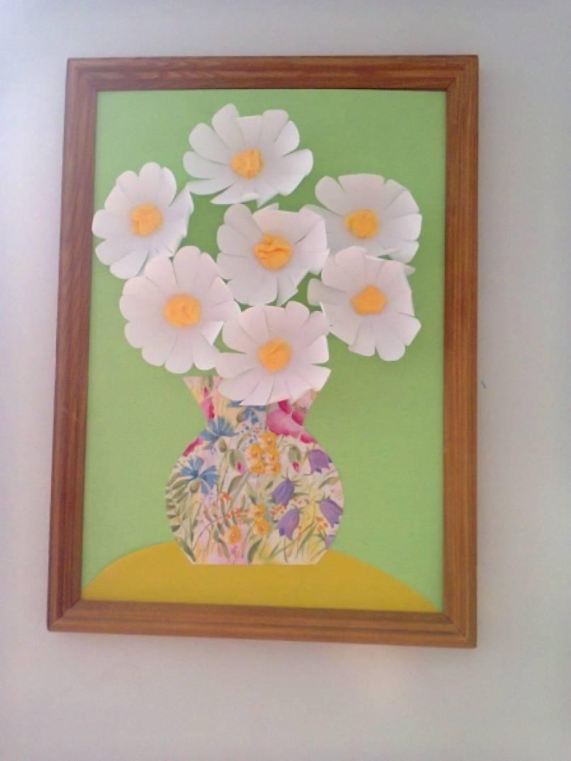 Поделка цветы в вазе из бумаги детская