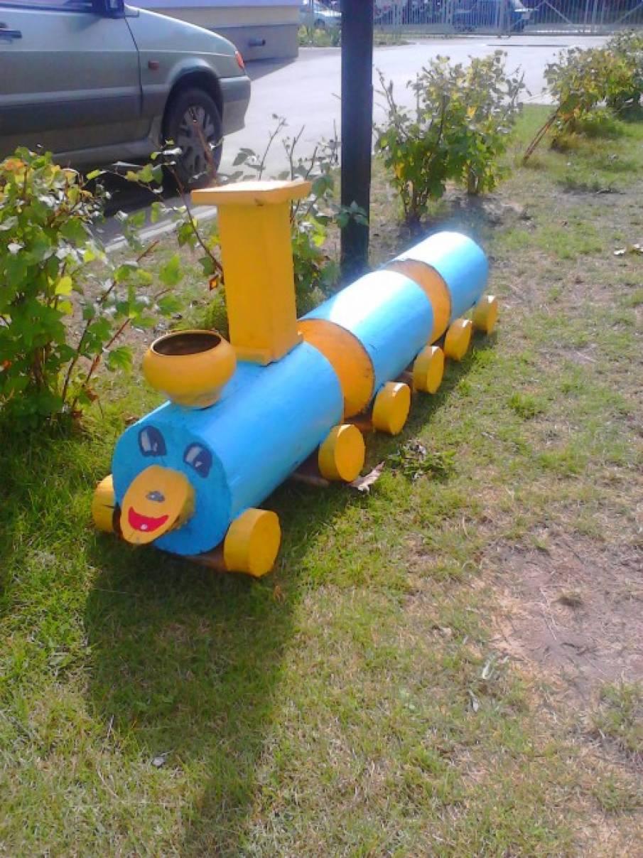 Паровозик для детского сада своими руками на участок детского сада 158