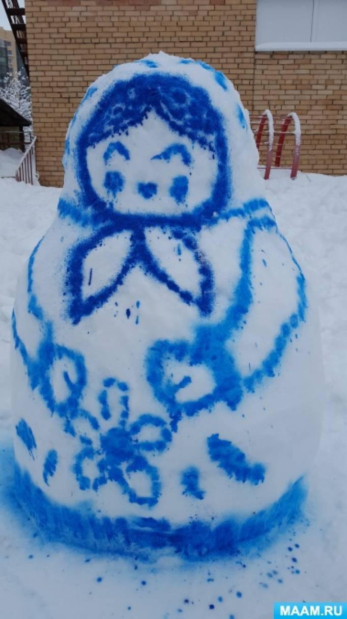 Постройки из снега и льда с детьми 5–6 лет. Рисование на снегу