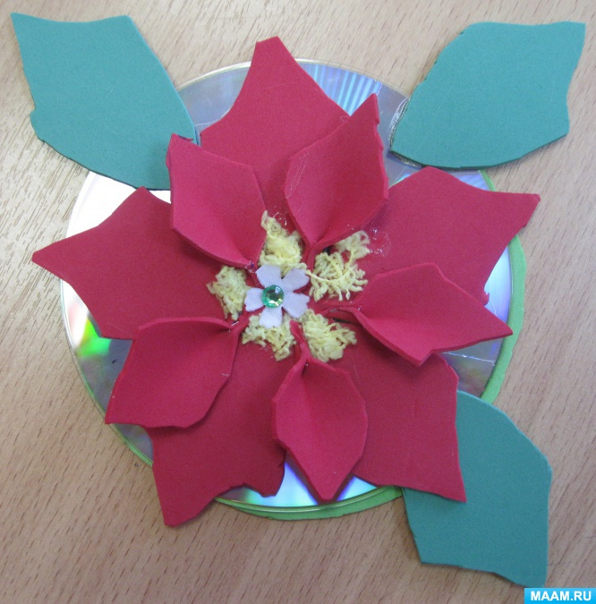 Аппликация из фетра на диске «Пуансеттия»