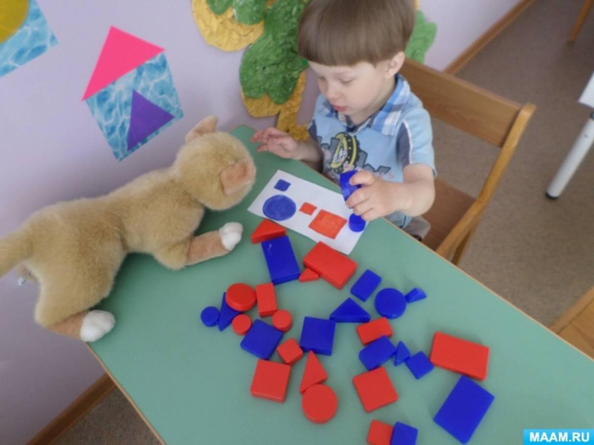 Конспект коррекционного занятия с блоками Дьенеша для детей младшей группы с ЗПР «Котя, котя, котофей»