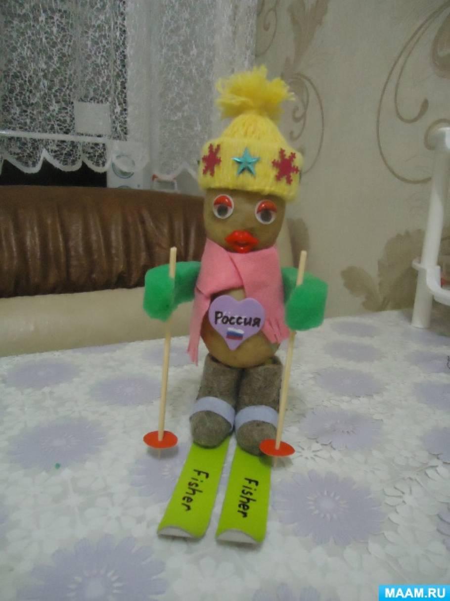 Поделка из картошки «Лыжник из России»