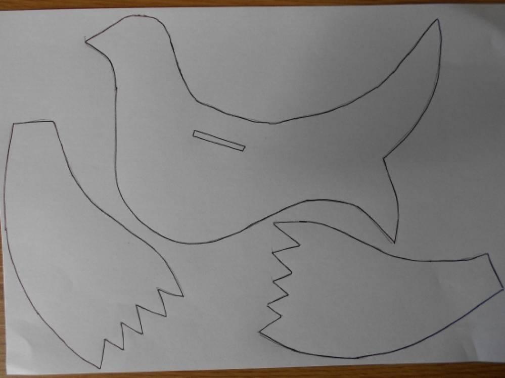 Как сделать голубя из бумаги на картоне
