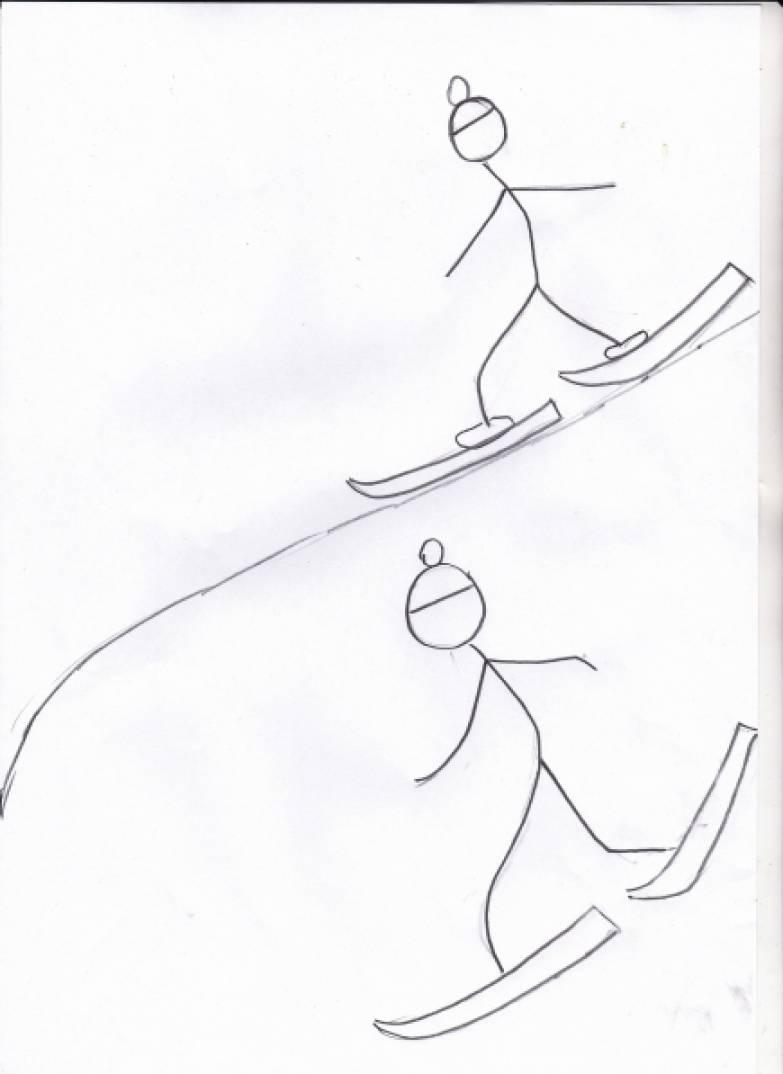 Поэтапный рисунок ребенка в движении