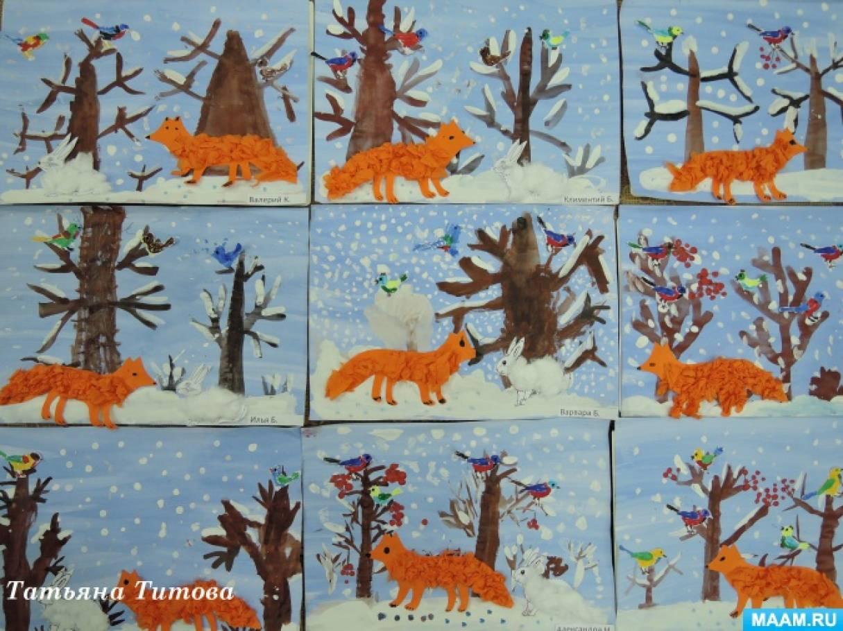«Зима в лесу». Рисование с элементами аппликации. Фотоотчет ...