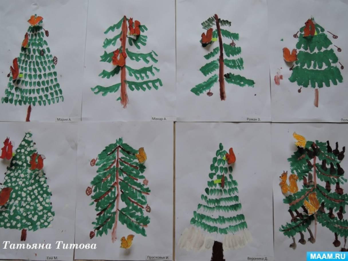 Рисование елочек разными способами. Фотоотчет детского творчества