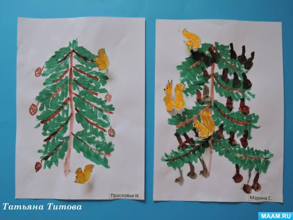 Как нарисовать елку ребенку 3 года