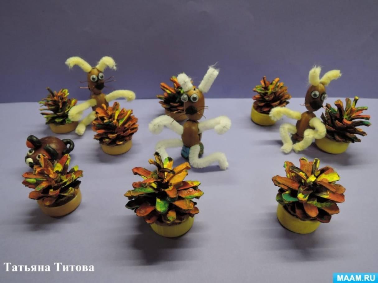 Зайчики из желудей и синельной проволоки. Детский мастер-класс для совместного творчества детей и родителей