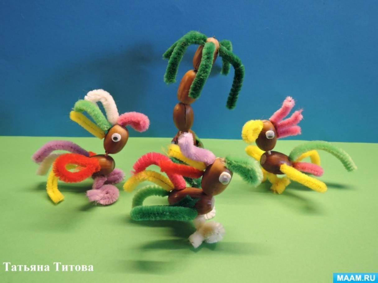 Попугайчики из желудей и синельной проволоки. Детский мастер-класс для семейного творчества детей и родителей