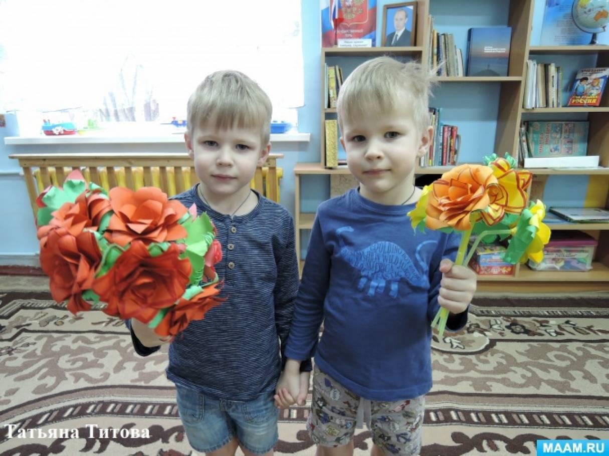 Мастер-класс ко Дню матери «Красивая роза из бумаги»