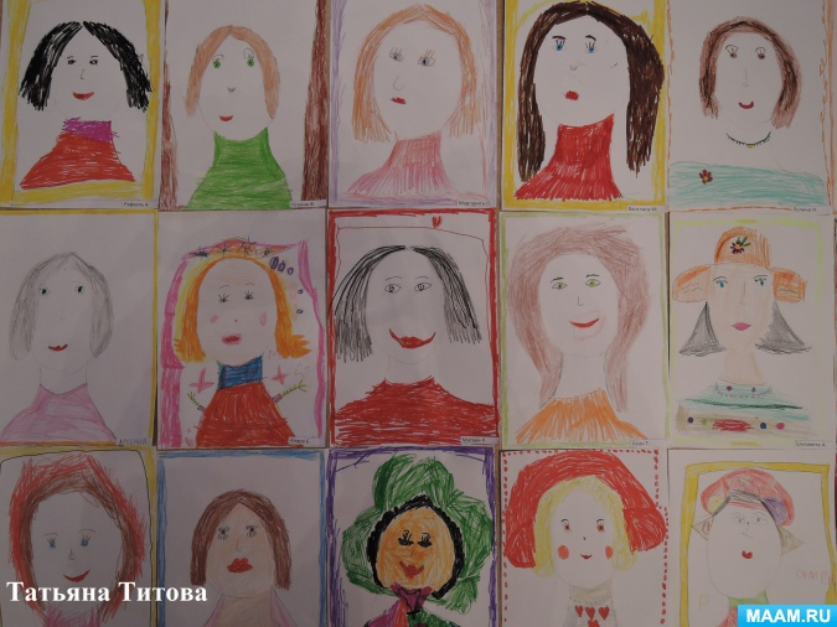 Конспект НОД по рисованию цветными карандашами «Портрет мамы в рамке»