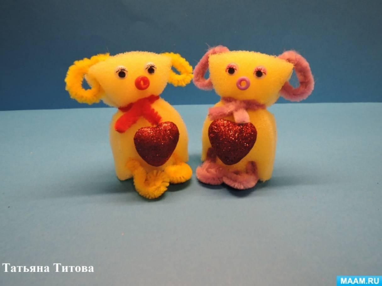 Мастер-класс «Желтая собачка с сердечком» из поролона