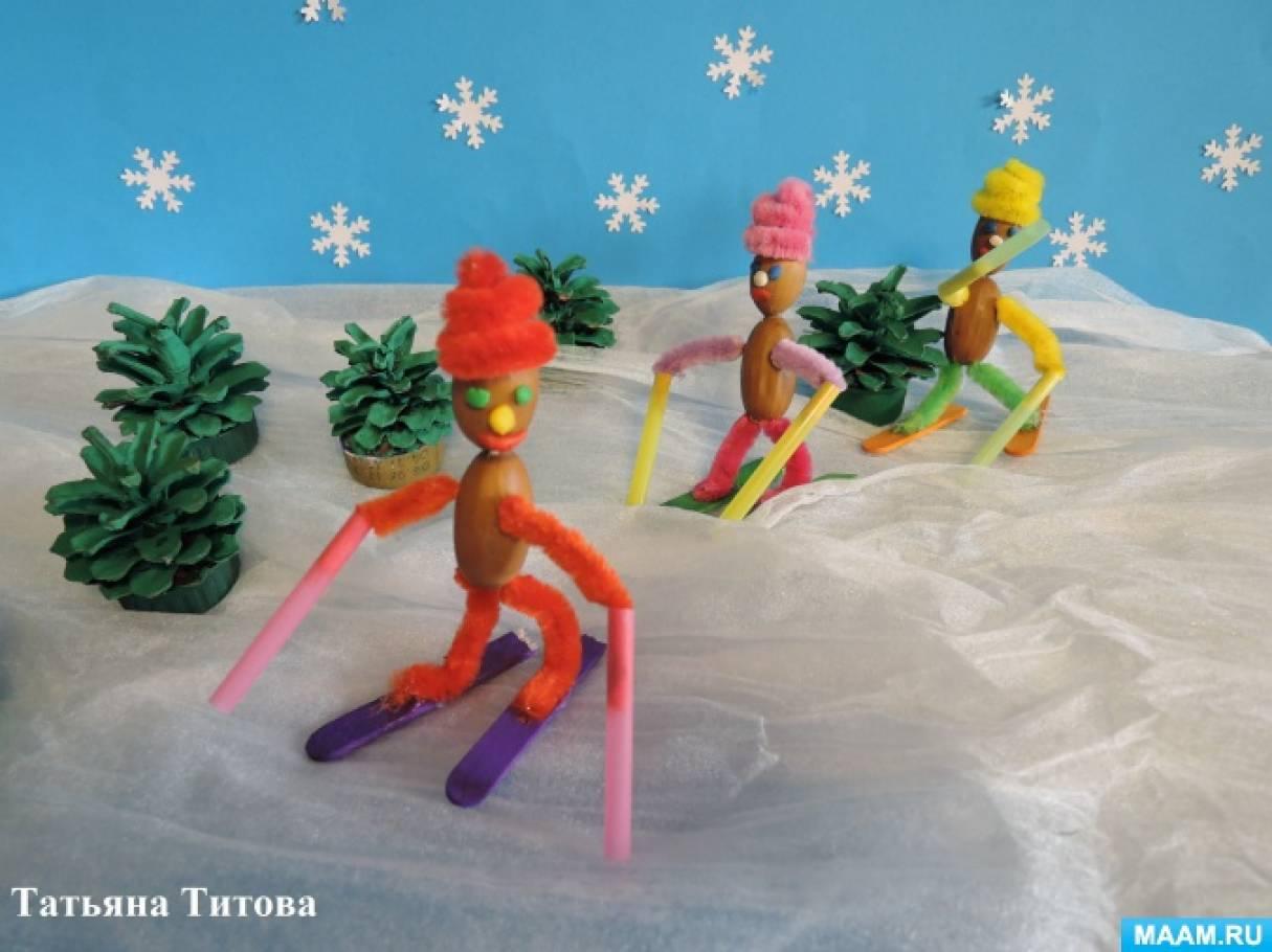 Мастер-класс по изготовлению поделки из желудей и синельной проволоки «Лыжники»