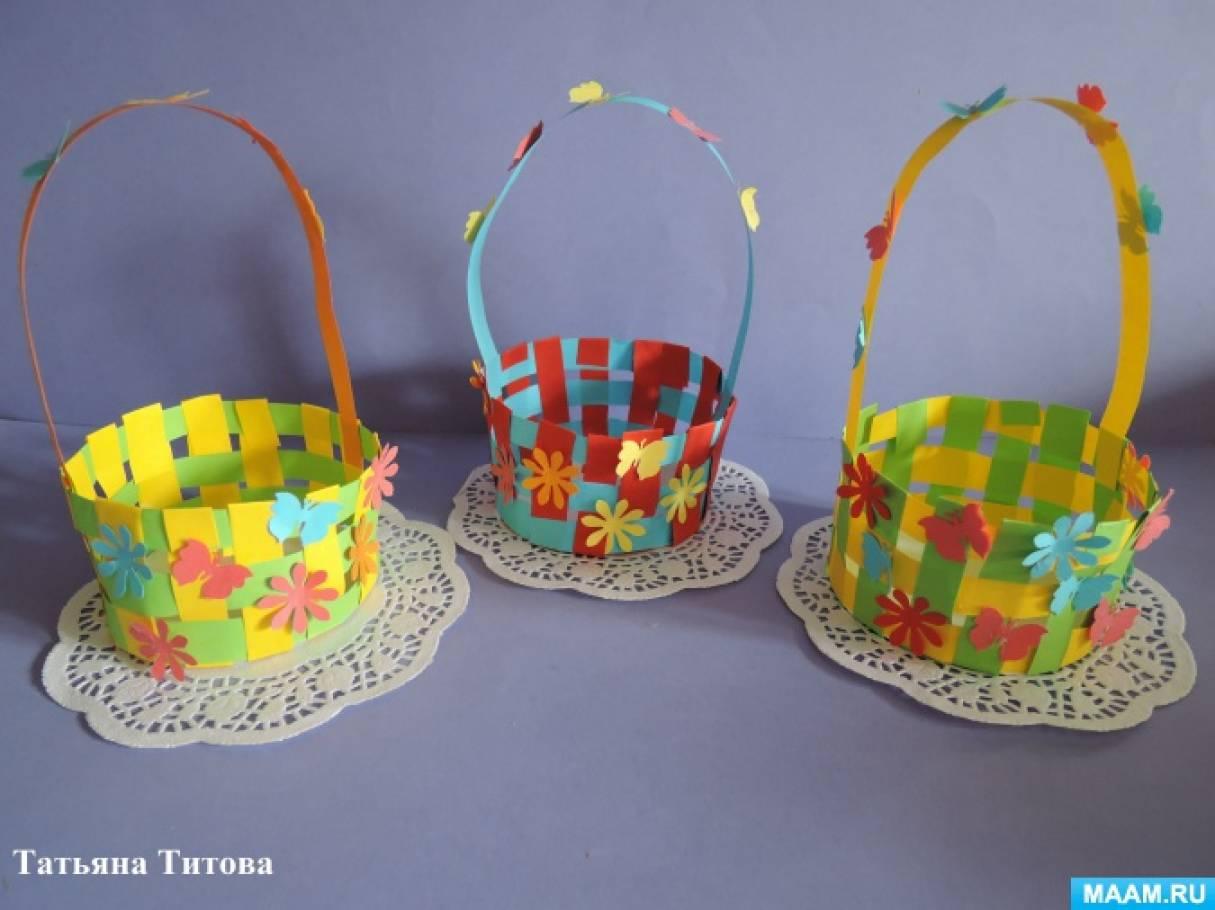 Плетеная корзина из бумаги для детей