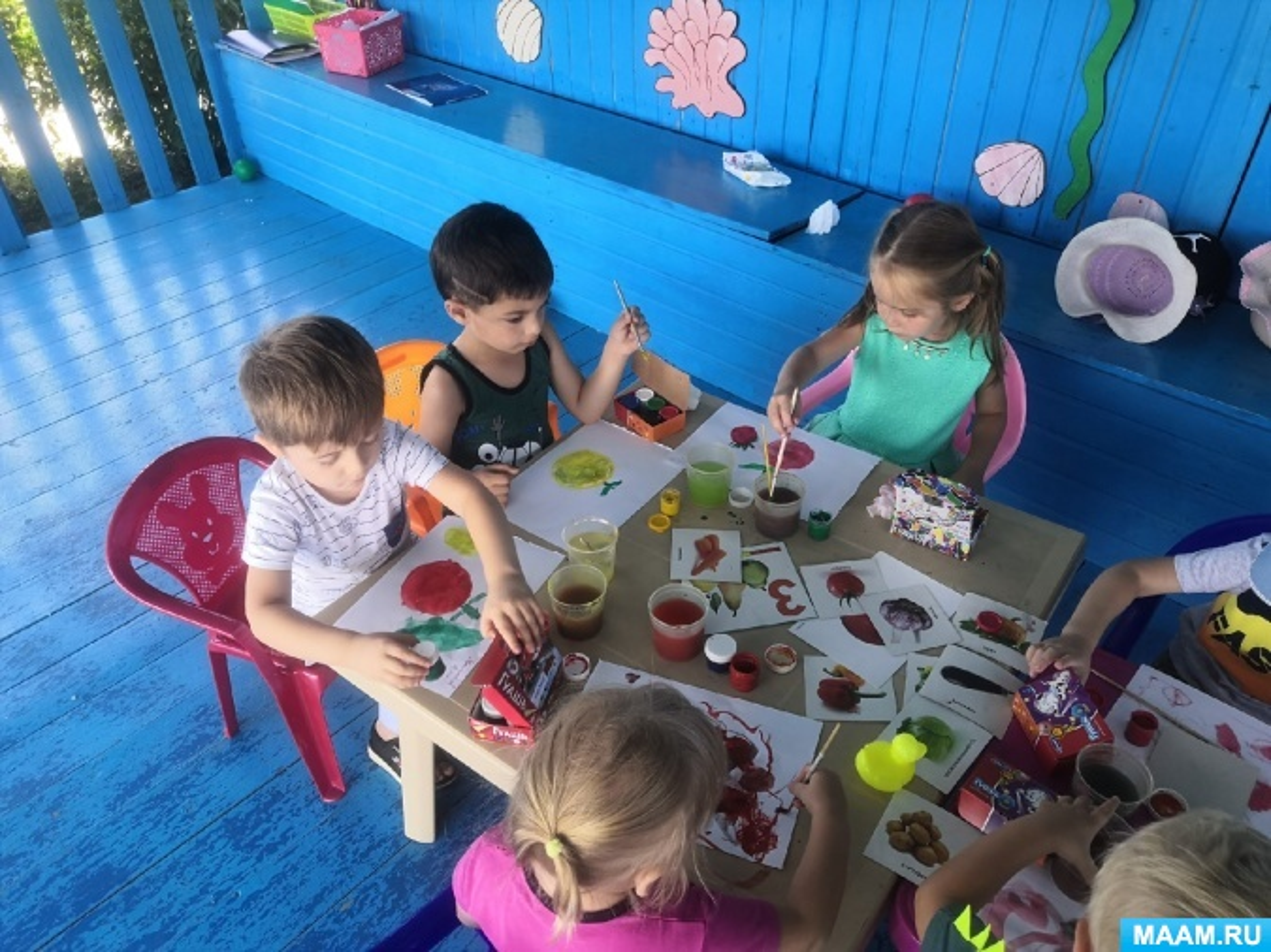 Конспект образовательной деятельности по рисованию «Витаминный день «Овощи и фрукты»