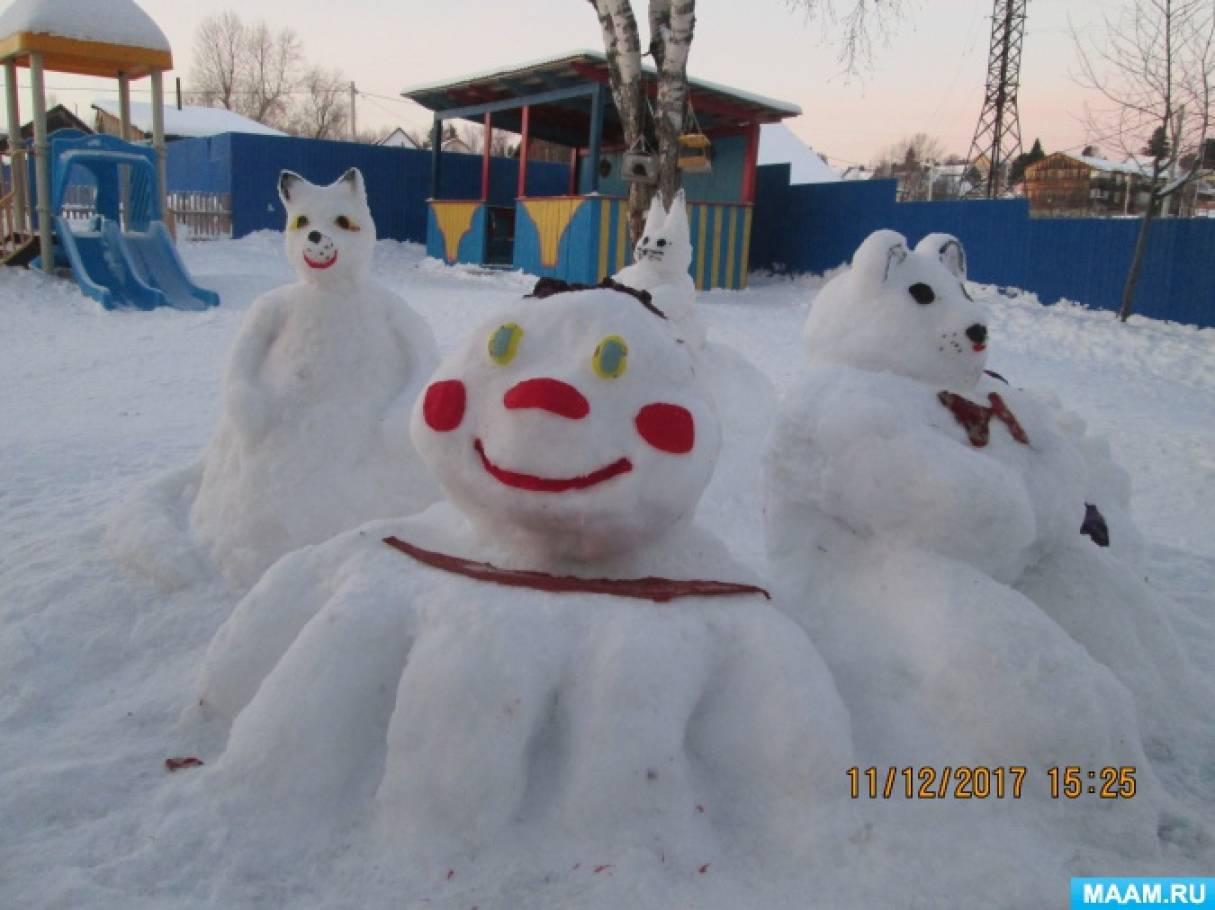 В гостях в снежном королевстве Колобка на территории участка смешанной младшей группы