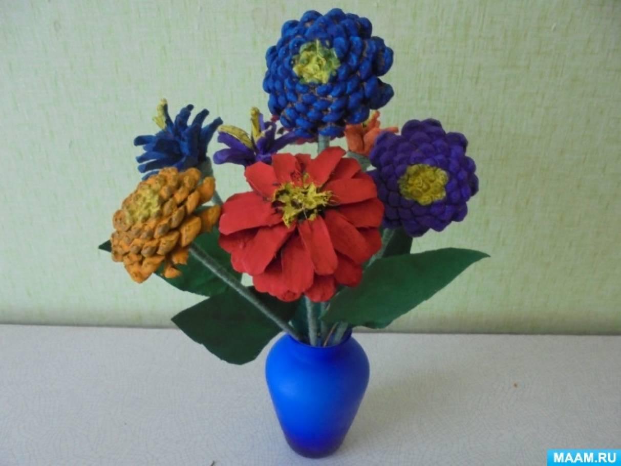 Цветок из шишек своими руками