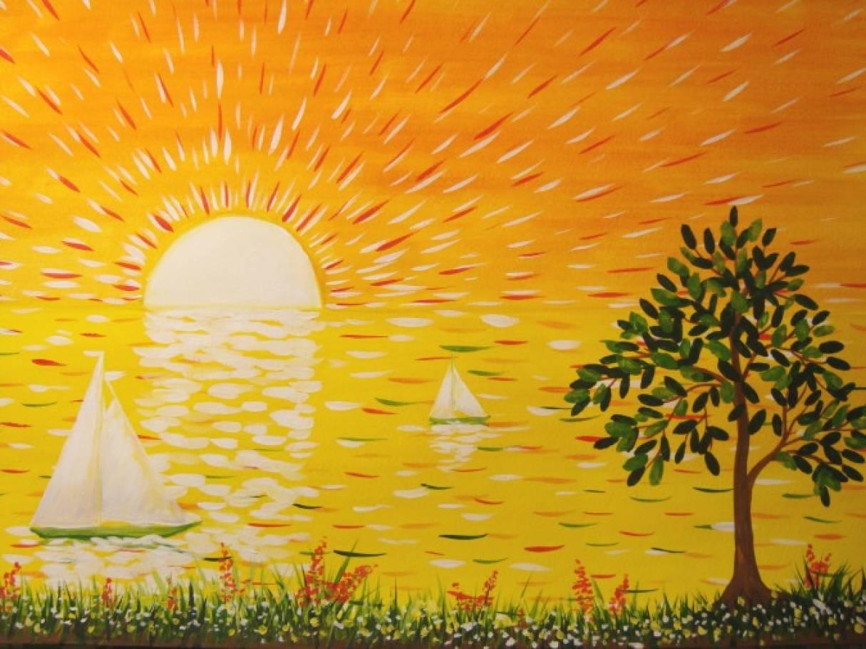 «Закат на море». Мастер-класс по рисованию гуашью с детьми 6–7 лет