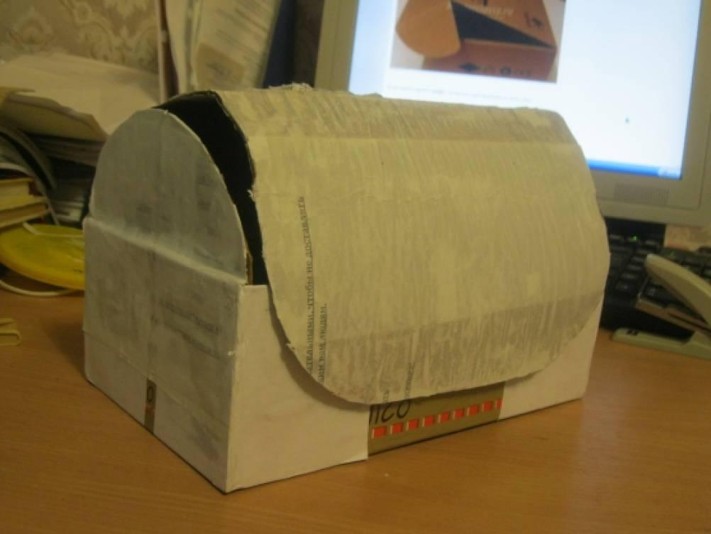Сундучок из картонной коробки своими руками мастер класс 81