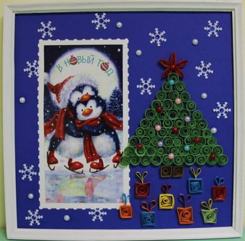 Новогодняя открытка в детский сад на выставку