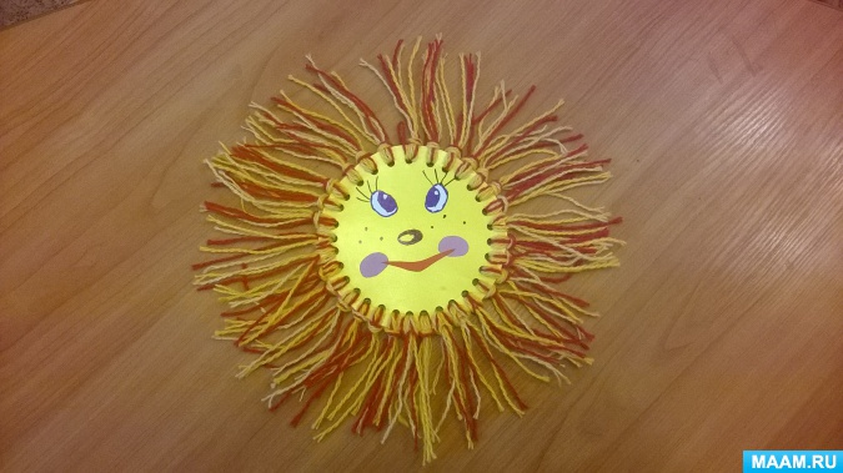 Поделка солнышко своими руками из ниток 17