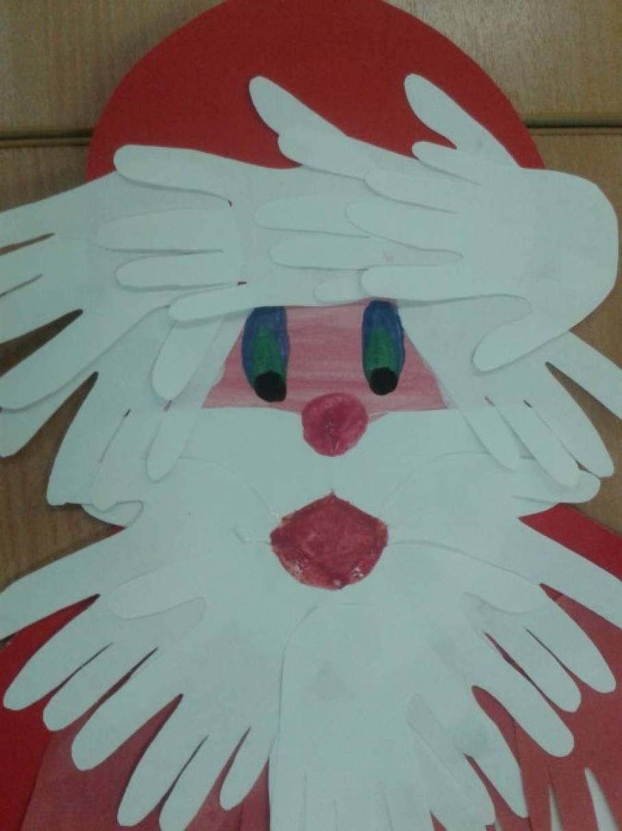 Дед мороз из ладошки открытка