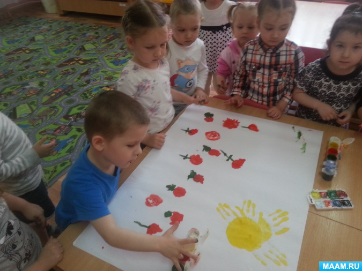Нетрадиционное рисование во второй младшей группе. Рисование пальцами и ладошками «Весенняя поляна»