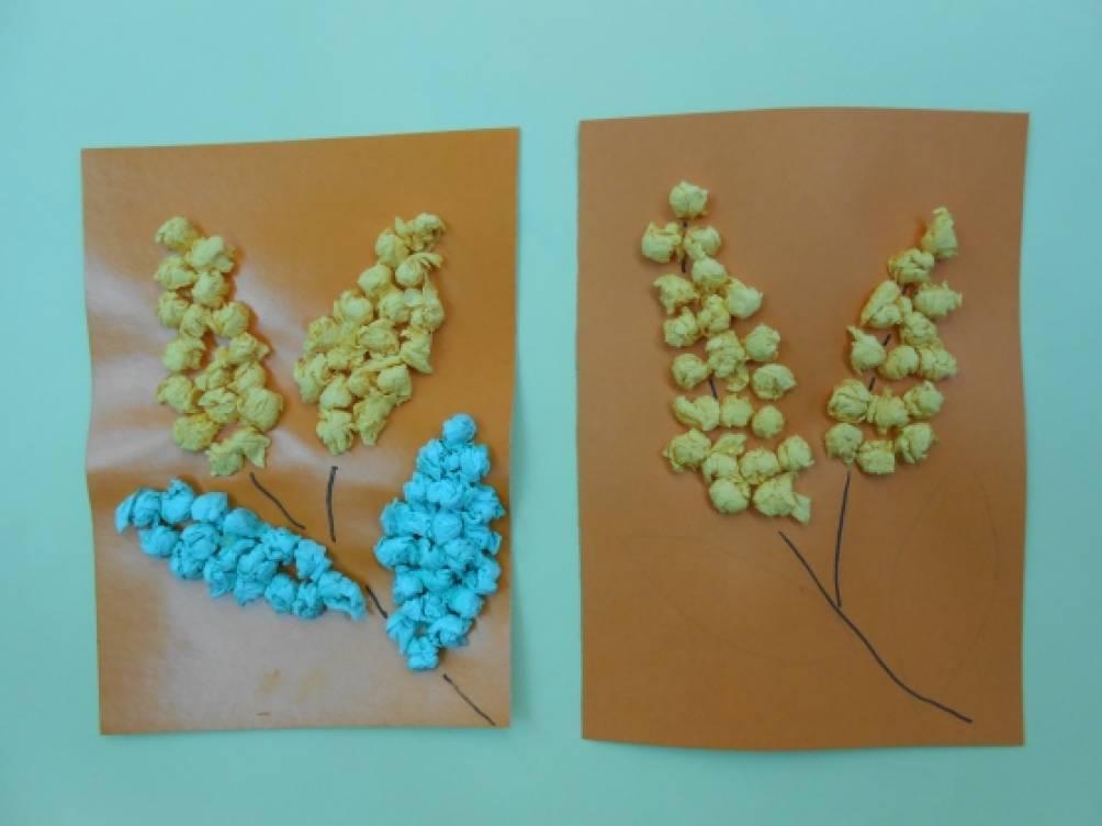 Открытка с мимозой из салфетки