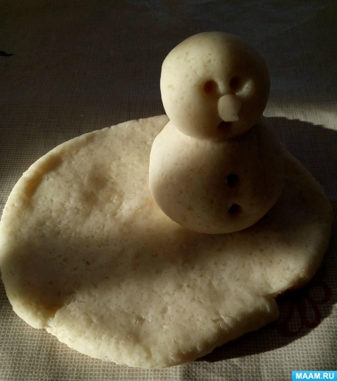 Снеговик из теста картинки