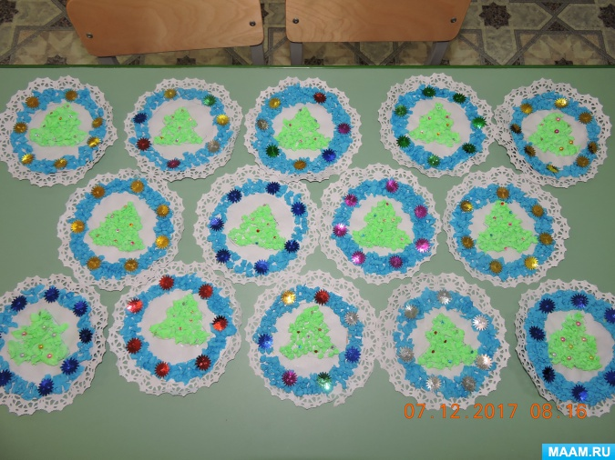 Мастер-класс по декорированию бумажной ажурной салфетки гофрированной бумагой «Новогодняя сказка»