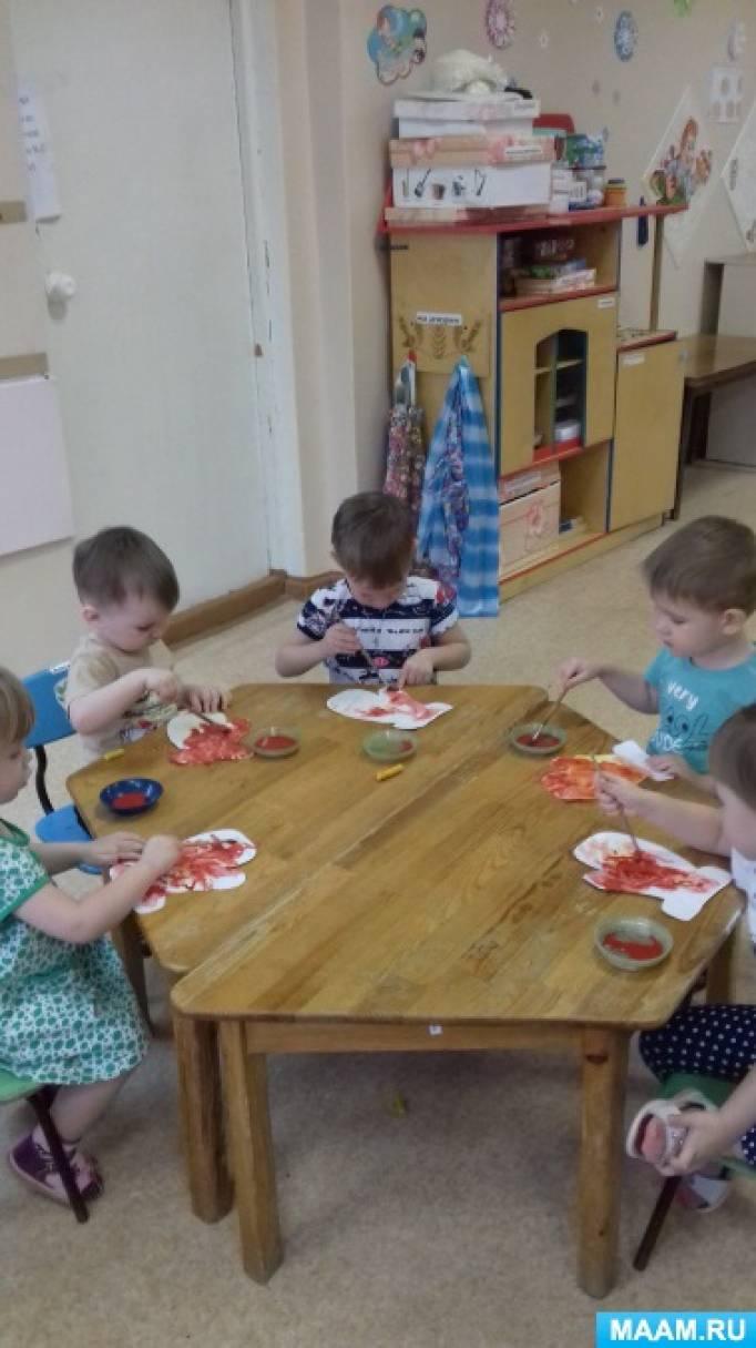 Занятия по рисованию красками «Варежки для Деда Мороза» для детей с 2–3 лет