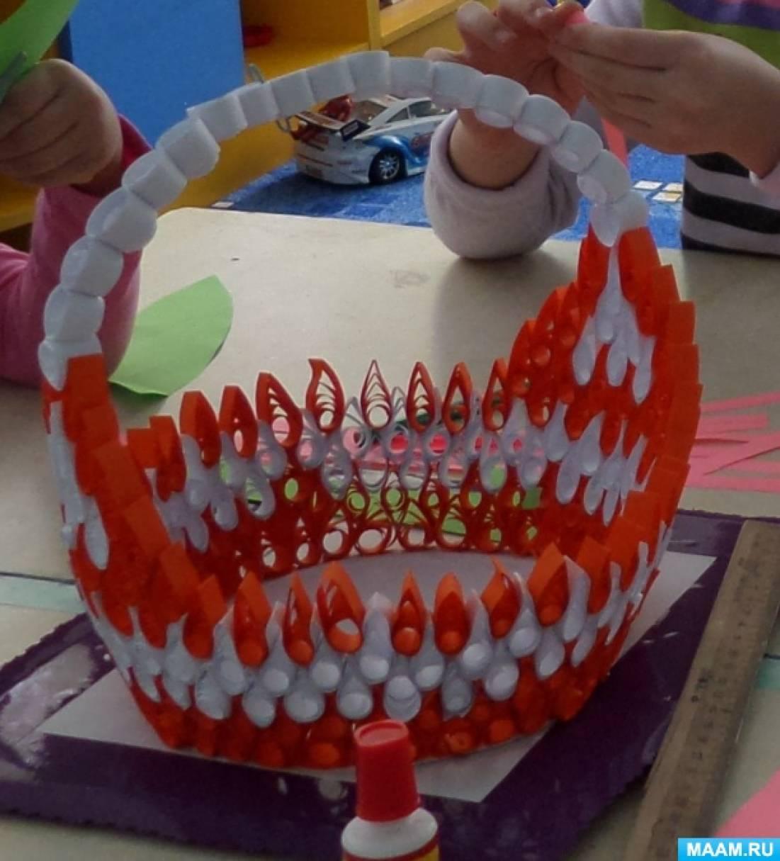 Коллективная работа подготовительной к школе группы в технике квиллинг «Корзинка с цветами»