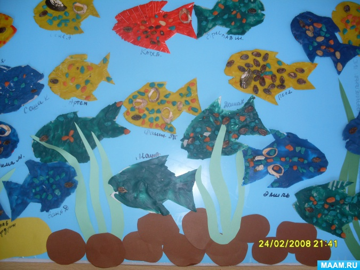 Детский мастер-класс, пластилинография «Аквариум с рыбками»