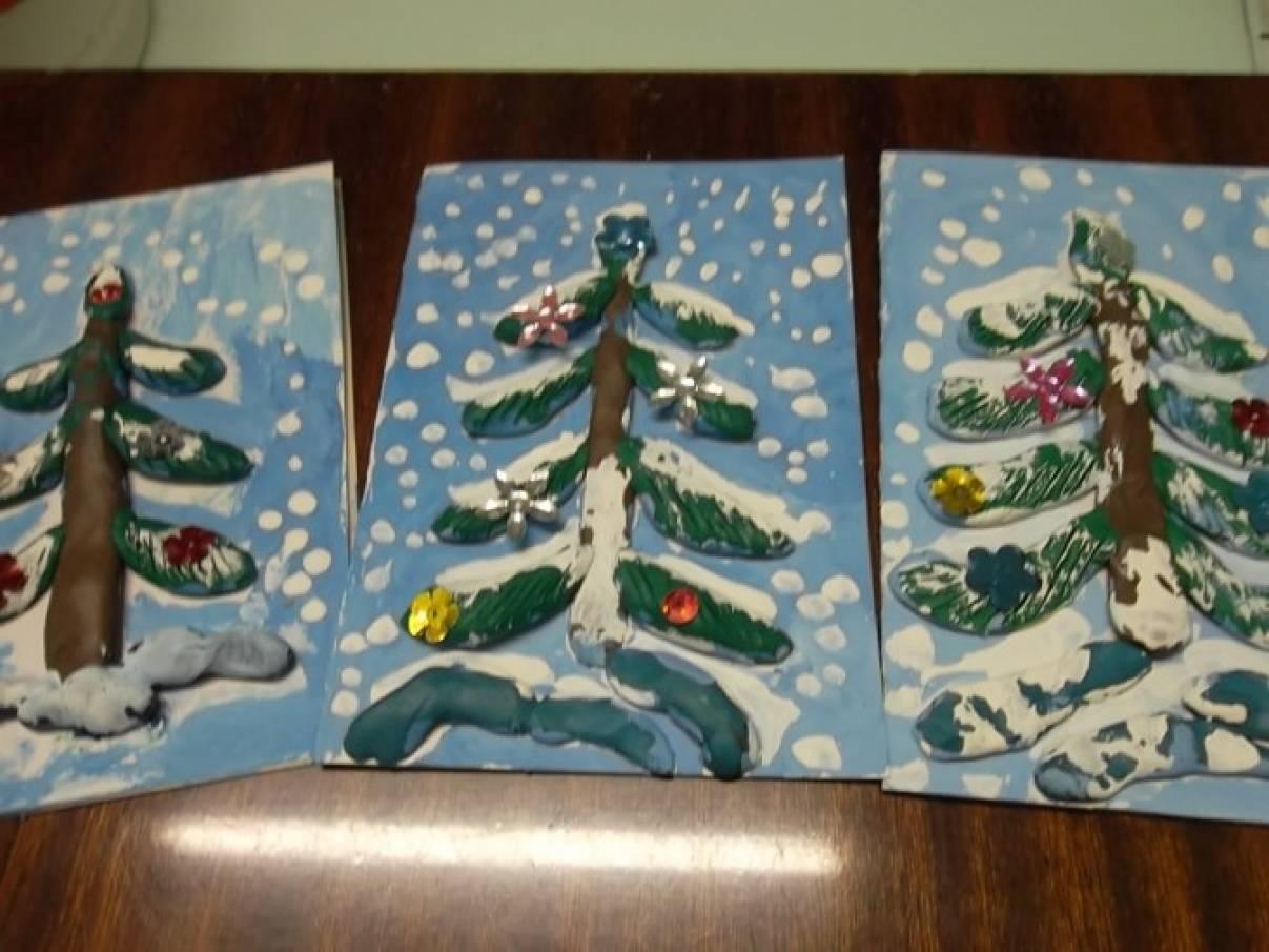 Картинках, аппликация рождественская открытка в средней группе