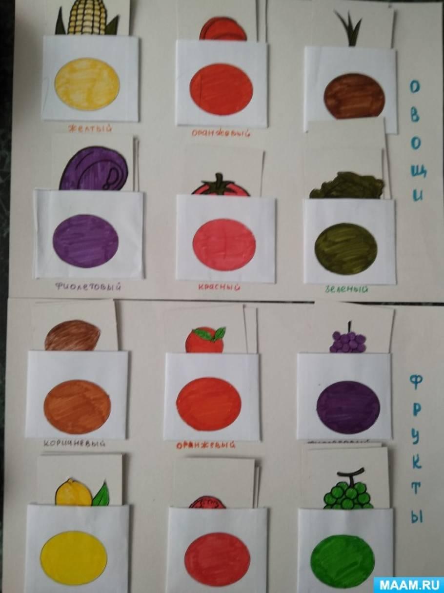Дидактическая игра «Какого цвета овощи и фрукты» для детей раннего возраста